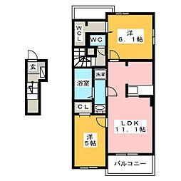 トゥインクルB[2階]の間取り