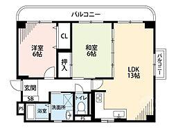クオーレ江坂[2階]の間取り