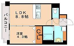 福岡県福岡市東区馬出4丁目の賃貸マンションの間取り