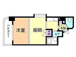 メープル円山 9階1LDKの間取り