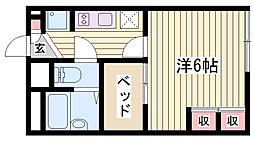 JR東海道・山陽本線 西明石駅 徒歩31分の賃貸アパート 2階1Kの間取り
