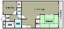 大阪府富田林市加太3丁目の賃貸マンションの間取り