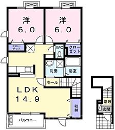 ガーデンヴィラ向日葵[2階]の間取り