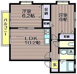 東京都世田谷区給田4の賃貸アパートの間取り
