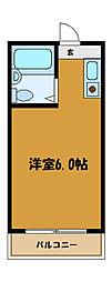 JR中央線 国立駅 徒歩18分の賃貸アパート 1階ワンルームの間取り