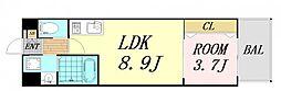 V-ランコントル吹田 8階1LDKの間取り