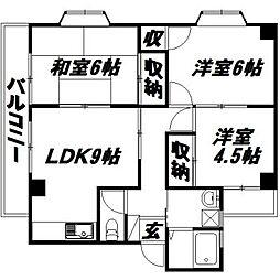 静岡県浜松市中区佐鳴台6丁目の賃貸マンションの間取り