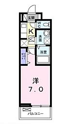 広島電鉄6系統 江波駅 徒歩7分の賃貸アパート 1階1Kの間取り