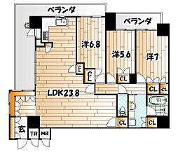 リビオ東田ヴィルコートI街区[9階]の間取り