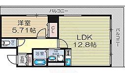 Osaka Metro御堂筋線 新大阪駅 徒歩9分の賃貸マンション 2階1LDKの間取り