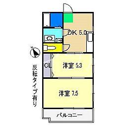 メロディハイム愛宕山[6階]の間取り