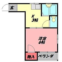ニューハイツ桜III 2階1Kの間取り