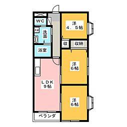 ハウゼキートスA[2階]の間取り