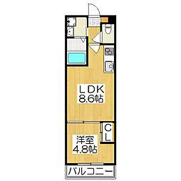 仮)伏見区津知橋マンション 2階1LDKの間取り