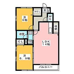 レジデンス武蔵III B棟[1階]の間取り