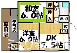 福岡県大野城市上大利3丁目の賃貸アパートの間取り
