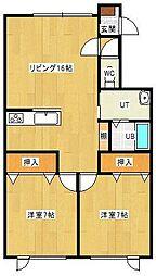 ホアールMIWA[102号室]の間取り