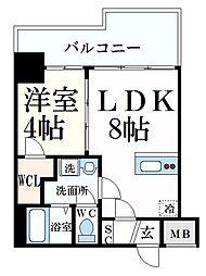 阪神本線 深江駅 徒歩2分の賃貸マンション 6階1LDKの間取り