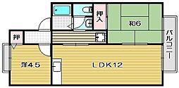 大阪府高槻市氷室町2丁目の賃貸アパートの間取り