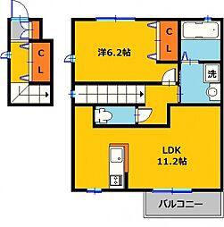 カスカータE 2階1LDKの間取り