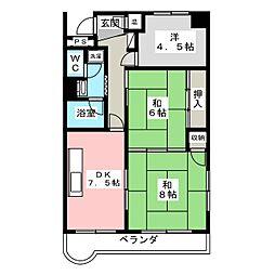 二軒茶屋エスコムビル[9階]の間取り
