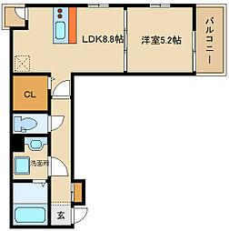 近鉄南大阪線 布忍駅 徒歩5分の賃貸アパート 3階1LDKの間取り