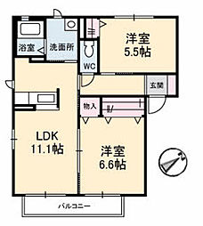 ルミエールA棟[A201号室]の間取り