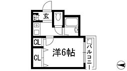 大阪府池田市栄本町の賃貸マンションの間取り