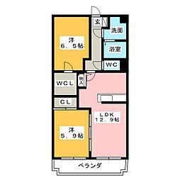 静岡県静岡市清水区石川の賃貸マンションの間取り