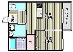大阪府富田林市本町の賃貸マンションの間取り