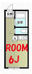 神奈川県横浜市神奈川区三ツ沢中町の賃貸アパートの間取り