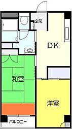 竜泉グリーンハイツ 4階2DKの間取り