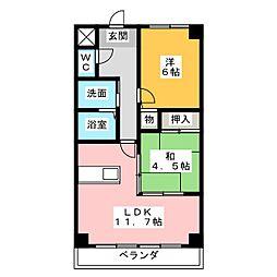 愛知県名古屋市中川区南脇町2の賃貸マンションの間取り