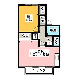 コーポセジュールB棟[2階]の間取り