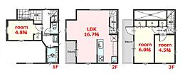 建物参考プラン:間取り/3LDK、延床面積/72.43?、土地建物参考価格/6034万円(税込)\n