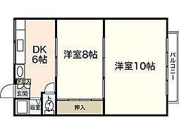 広島県広島市西区己斐中3丁目の賃貸アパートの間取り