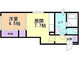 サンテ前田 1階1DKの間取り