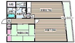 阪神ハイグレードマンション3番館[4階]の間取り