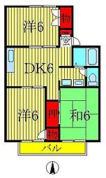 パールハイツ米村26・27[2階]の間取り