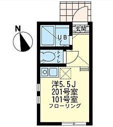 神奈川県横浜市西区元久保町の賃貸アパートの間取り