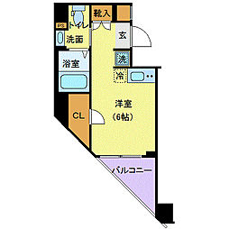 JR埼京線 板橋駅 徒歩5分の賃貸マンション 5階ワンルームの間取り