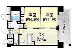 エステムコート新大阪13ニスタ 2階1SLDKの間取り