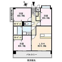 福岡県久留米市津福本町の賃貸マンションの間取り