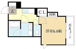 近鉄京都線 大久保駅 徒歩4分の賃貸マンション 2階1Kの間取り