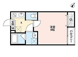 小田急小田原線 町田駅 徒歩13分の賃貸アパート 3階1Kの間取り