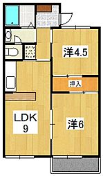 神奈川県小田原市南鴨宮3丁目の賃貸アパートの間取り