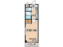 京都府京都市山科区椥辻東潰の賃貸マンションの間取り