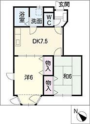 ファミールシャトーB棟[1階]の間取り