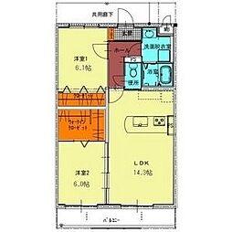 プランドールR−1[2階]の間取り