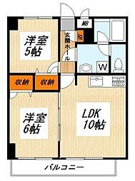 東急東横線 都立大学駅 徒歩16分の賃貸マンション 2階2LDKの間取り